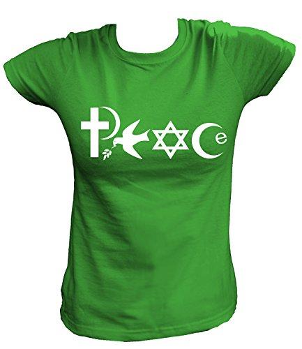 Artdiktat Damen T-Shirt - PEACE - WORLD RELIGIONS , Größe XXL, grün