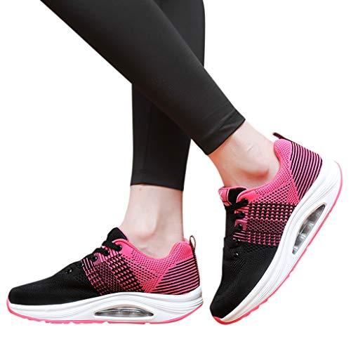 TianWlio Sneaker Damen Outdoorschuhe Atmungsaktive Soft Bottom Schuhe Turnschuhe Outdoor Mesh Freizeit Sportschuhe Hot Pink 35
