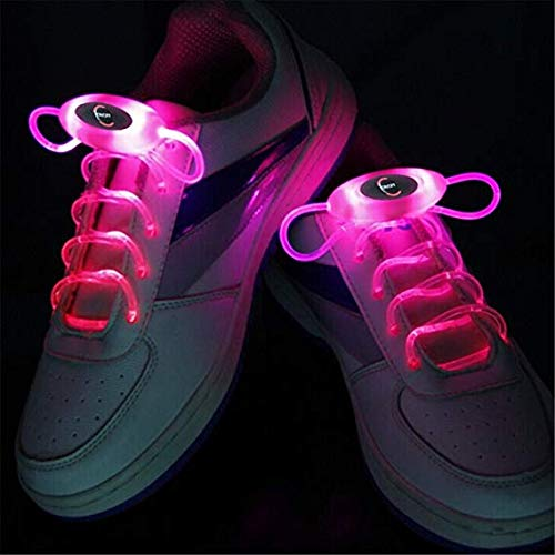(RGB 80 cm Glow Schnürsenkel LED Sport Schuhe Schnürsenkel Glow Stick Blinkt Neon Leuchtend Schnürsenkel (pink))