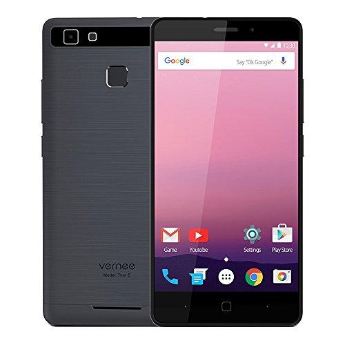 Vernee Thor E Android 7.0 Smartphone 4G LTE Handy 5020mAh 3GB RAM 16GB ROM Dual SIM ohne Vertrag 5 Zoll HD Display MTK6753 Octa Core 13MP + 5MP Kamera Metallgehäuse Fingerabdrucksensor Quick Charge GPS, Grau