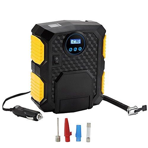 ZFLIN Mobiler Schnell Druckluft-Kompressor zum Aufpumpen von Reifen, Bällen und vielem mehr. Tragbarer elektrischer Reifen Kompressor zum Mitführen im Auto oder LKW (12V DC Digitalanzeige)