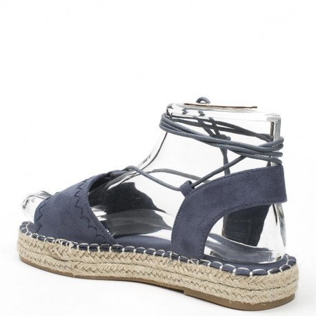 Ideal Shoes - Sandales plates effet daim Tricia Bleu