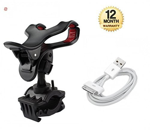 supreno™ Universal Bike Holder 360 Degree Rotating Bicycle Holder Motorcycle cell phone Cradle Mount Holder for All Size Mobile Phones with Charging Charger Cable Cord for Apple iPhone 4 4S 4G 4th IPOD ( 12 MONTH WARRANTY )
