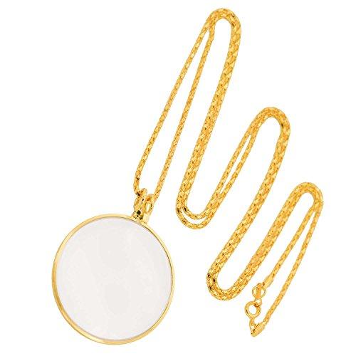 Halskette Schmucklupe, Lupenanhänger, Taschenlupe, 6-fach vergrößernd, golden