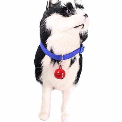 Leuchthalsband für Hunde SOMESUN Exquisite einstellbare Hundewelpen Hundehalsbänder Katze geformt Sicherheitsnadel mit Glocke (23cm, Blau)