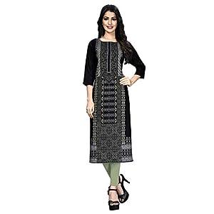 1 Stop Fashion Women's Black Colour Crepe Foil Print Knee Long W Style Kurta/Kurti