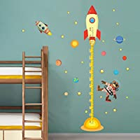 YXWLKG Decorative paintings diy Outer space Planet Monkey Pilot Rocket home decal height measure wall sticker for kids room baby nursery growth chart