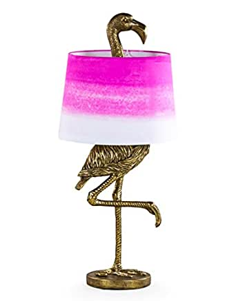 Funky Large Antique Gold Flamingo Table Lamp With Pink And