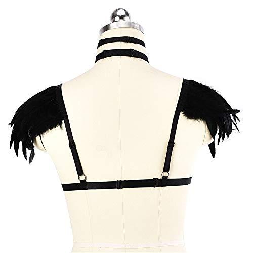 Abrahmliy Damen Elastic Harness Brust Geschirre Woman Body Feathers Harness BH Dance Unterwäsche Accessoires Punk Gothic Frauen Harness BH Elastischen Käfig (Color : Black, Size : Free Size) - 4