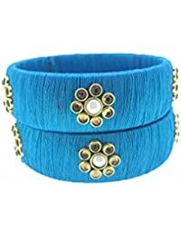 SURATNA Handmade Silk Thread Bangle Sky Blue Color 2 Pc Set For Party Wear Traditional Wear (SJ61)