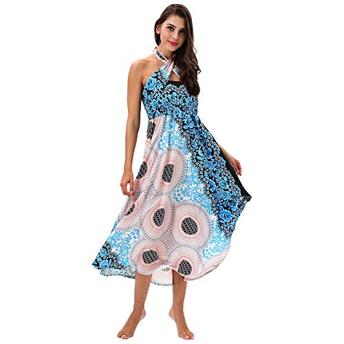 MNVOA Frauen Maxi Skirt/Dress Bikini Cover Up Boho Digital/Floral Print Tube Top Beautiful Strappy Beachwear-3 Farben,YEV007,OneSize Floral Print Tube Top