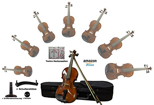 Sinfonie24 Set Geige/ Violine für Einsteiger aus Hamburger Geigenbau Manufaktur (Basic III) inkl. Bogen, Koffer, Griffbrettmarkierug, Schulterstütze, Dämpfer und Markensaiten (4/4)- Versand durch - 3 Geige 4 Saitenhalter