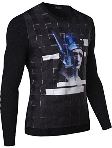 jeansian Herren New Contrast Color Design Fashion DrawString Hoodie Sweater 88E3 Black