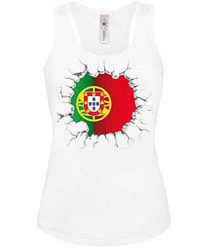Portugal Fussball Fanshirt Brust 5775 Damen Fan Fun Tank Top Funshirt Weiss L
