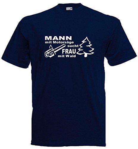 Mann mit Motorsäge, sucht Frau mit Wald T-Shirt, Premiumshirt von Bimaxx® Navyblau
