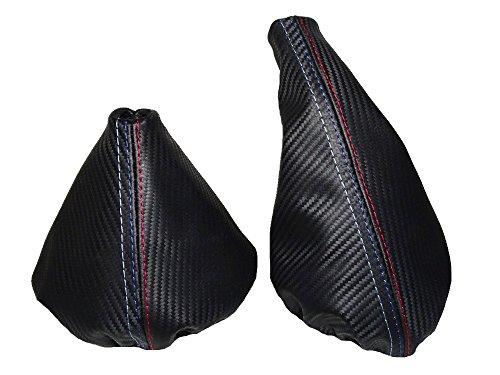 Preisvergleich Produktbild Für BMW E36E461991–05Gear & Handbremsmanschette schwarz Leder Carbon look M///Steppung