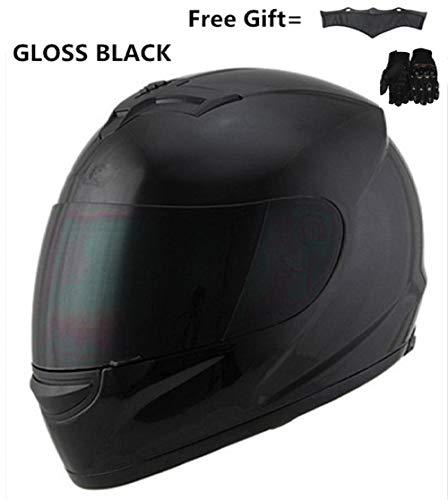 TOUKUI Casco da moto Casco da moto completo con visiera parasole interna Lente di sicurezza Caschi integrali da corsa S da 55 cm a 56 cm@casco nero lucido_M