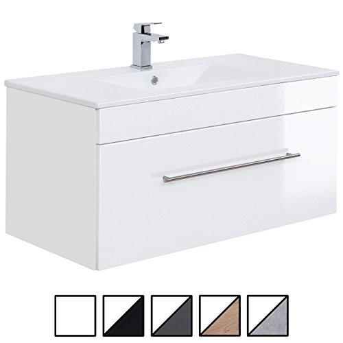 e-combuy Möbel Waschplatz VENEDIG Breite 100 cm Waschtisch Unterschrank mit Keramik Waschbecken Weiß hochglanz