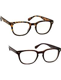 UV Reader Brown Tortoiseshell & Brown Reading Glasses Designer Style Mens Womens Inc Case UVR2PK014_015 Strength +3.00 by UV Reader