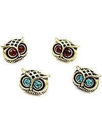 2For1 Vintage bronze bleu et orange aux yeux de hibou boucles d'oreilles Clous d'oreilles