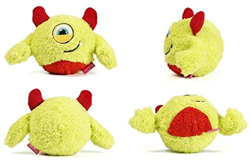 Toypalace24 Quietschball für Hunde im lustigen Monster-Hundeball-Design/Weiches Wurfspielzeug zum apportieren für große & kleine Hunde/Farbe: Gelb 2 / Größe nach Wahl