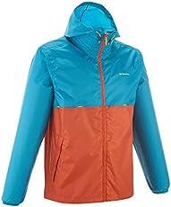 Quechua Men's Raincut Zip Waterproof Nature Hiking Rain Jacket -Orange and Light Blue