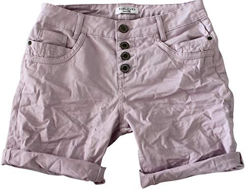 STS 15 Farben Damen Jeans Bermuda Short by Boyfriend Look tiefer Schritt Jeansbermuda mit Kontrastnähten Washed Kurze Hose (XL, Greyish Rose)