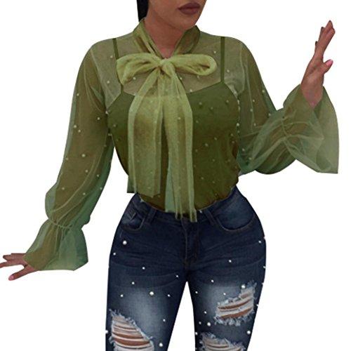 T-Shirt,Honestyi 2018 Neueste Modell Damen Perspective Net Garn Nagel Perlen Bluse Spitze Spleißen Mode V-Ausschnitt Oberteile Lange Ärmel Hemd Pullover Streetwear T-Shirt Tops (XXL, Grün) (Garn, Spitze Baumwolle,)
