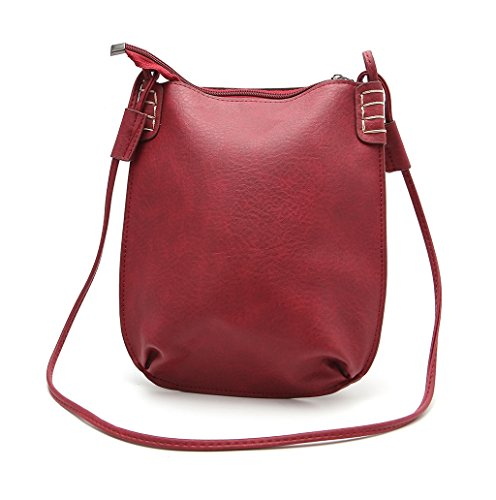 Dairyshop Sacchetti di Hobo del messaggero delle donne di modo della borsa della signora di modo (Marrone chiaro) Rosso