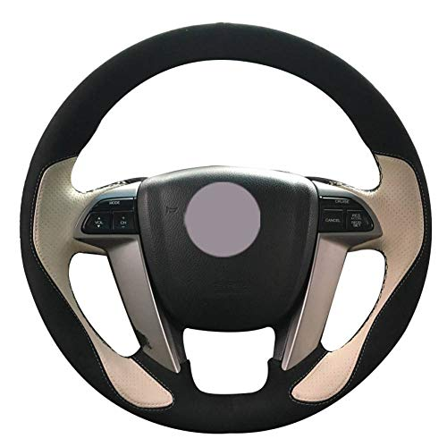 KAIDDRGFH Lenkradbezug aus beigem schwarzem Veloursleder für Honda Accord 8 2008-2013 Odyssey 2011-2014 Fahrer 2012-2015 (Honda Accord 2015 Leder)