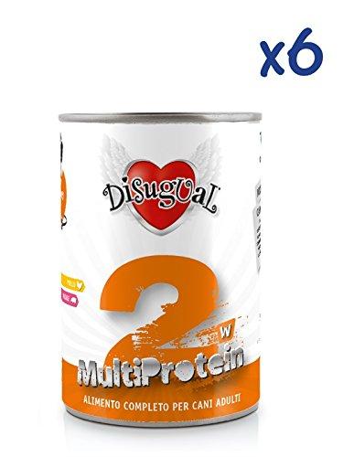Disugual Multiprotein 2 (6x400g) - Cibo umido multiproteico con pollo e maiale, per cani adulti