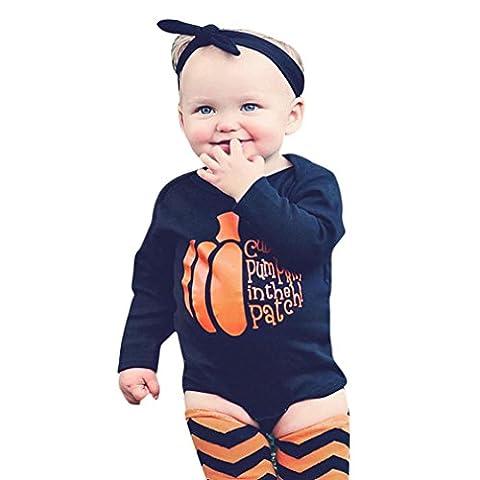 yanhoo Neugeborene Baby Kürbis Halloween Body Strampler Spielanzug + Socken + Stirnband 100 schwarz