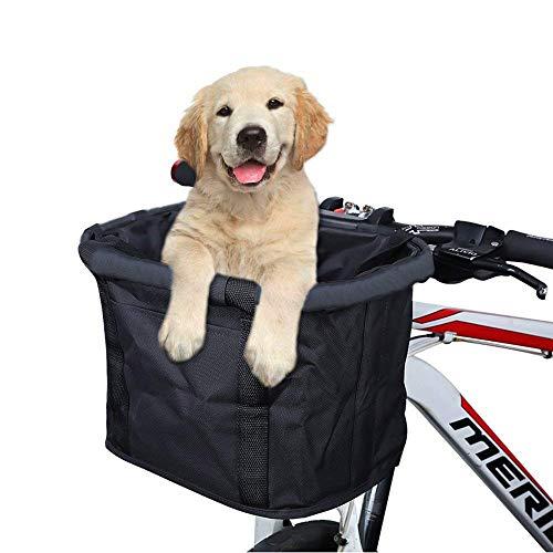Cestino della bicicletta, Pieghevole Pet Dog Cat Carrier anteriore rimovibile Bicicletta Manubrio Cestino sgancio rapido Facile installazione Staccabile borsa da bicicletta Montagna Picnic Shopping