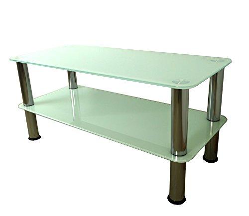 Mountright soporte de mesa de café/TV/mesa auxiliar (cristal blanco–Plata pierna)