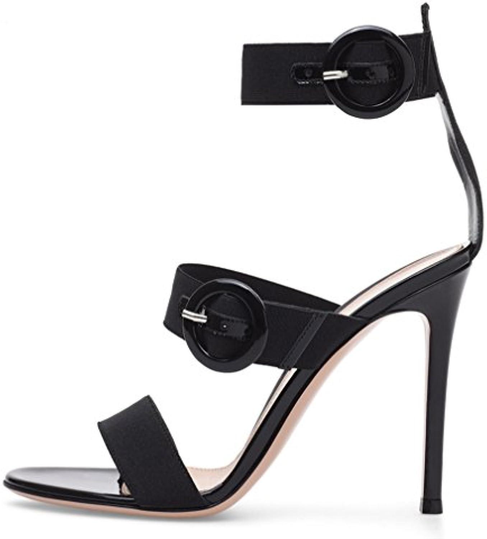 Sandalias Bloque De Tacón para Mujer con Punta Abierta Negro De Encaje hasta Zapatos Noche Fiesta,Black,EU35/UK3 -