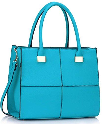 LeahWard Frauen Qualität Faux Leder Tragetaschen Damen Celeb Style Nizza Schulter Handtaschen Für Schule Für Sie Für Urlaub CW153N (Aquamarin Mittlere Tasche)