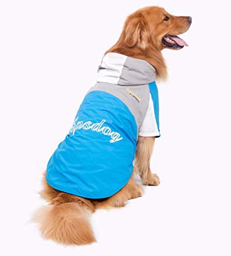BPS® Chubasqueros Impermeables para Mascotas Perros, Impermeables con Capucha para Perro Mediano y Grande 3 Colores para Elegir con Material 100% Poliéster (Azul+Gris, 60cm) BPS-9106AZ