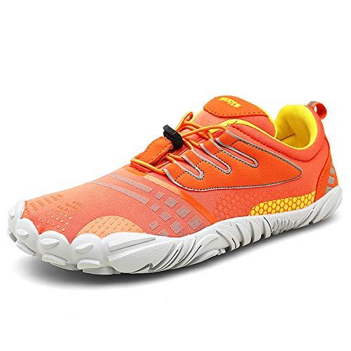 FOGOIN Barfußschuhe Herren Damen Outdoor Fitnessschuhe Laufschuhe Minimalistische Sneaker im Sommer Gr.37-47, Orange, 39 EU