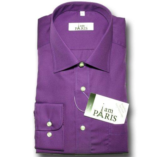 Preisvergleich Produktbild I am Paris - 100% Baumwolle - Herren Business & Freizeit Hemd,  Shirt,  bügelfrei,  Langarm,  uni,  Farbwahl:150u 84 - nacht blau lila,  Größe: L
