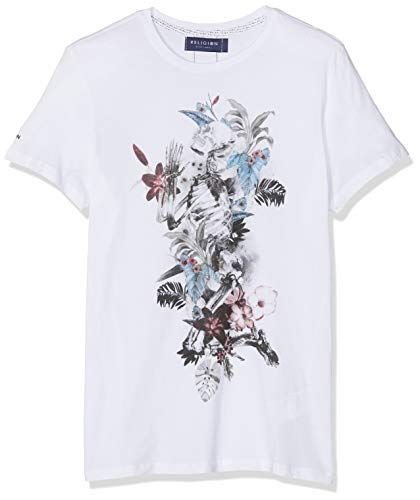 Religion Herren Hand Draw Flower Skeleton Tee T-Shirt, Weiß (White 014), Large