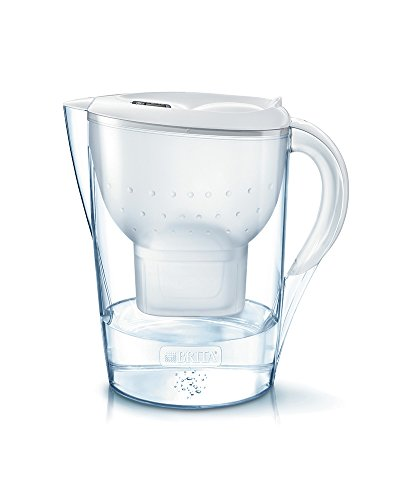 Brita Marella XL  MAXTRA+ Jarra de Agua Filtrada con 1 Cartucho, Filtro de Agua Brita que Reduce la Cal y el Cloro Agua Filtrada para Un Sabor Excelente, Color Blanco