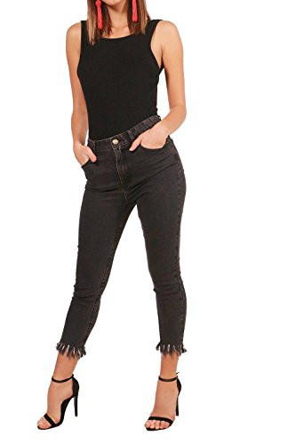 Damen Holzkohle Fee High Rise Fray Hem Skinny Jeans - 10