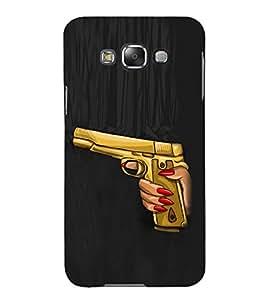 Fuson Designer Phone Back Case Cover Samsung Galaxy E7 (2015) :: Samsung Galaxy E7 Duos :: Samsung Galaxy E7 E7000 E7009 E700F E700F/Ds E700H E700H/Dd E700H/Ds E700M E700M/Ds ( Woman Hand Holding A Gun )