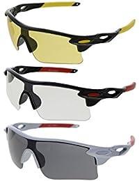 Vast Goggle Sunglasses Combo (Black) (Combo_9181_C1_C2_C3)