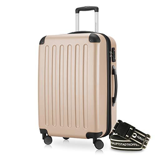 Hauptstadtkoffer - Spree Hartschalen-Koffer Koffer Trolley Rollkoffer Reisekoffer Erweiterbar, 4 Rollen, TSA, 65 cm, 74 Liter, Champagner +Gepäckgurt