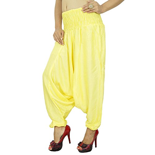 Pantalons Rayon Harem Boho Gypsy Pantalon Ample Pantalons Plage Pyjamas Jaune