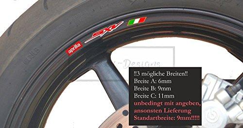 Sticker-Designs® 8 St. Aprilia SXV Felgenaufkleber Aufkleber Motorrad Wheel Rim Motorcycle Motorbike Bike Stickers Emblem Decals 450 550 supermoto 5.5 RimA053 viele Jahre haltbar,Hochleistungs-Druck UV & Waschanlagenfest,schutzbeschichtete,kratzfeste,Profi-Qualität,bunt ohne Hintergrund-FREIGESTELLT-,Motiv ist auf Kontur(Umriss)ausgeschnitten(Beispiel-Bild2)!Für Lacke geeignet.SCHNELL,EINFACH ZU VERKLEBEN, MADE IN GERMANY