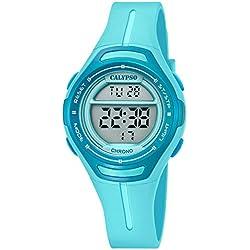 Calypso Armbanduhr für Damen Digitaluhr Sport - K5727/3 - PU-Armband türkis Quarz-Uhr UK5727/3