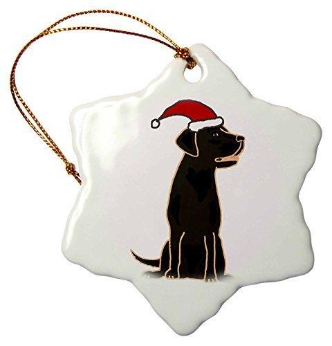 Weihnachten Craft Weihnachtsbaumschmuck niedliche schwarze Labrador Retriever in Santa Claus Hat Schneeflocke Weihnachten Porzellan Dekoration Geschenk -