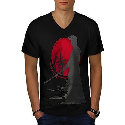 Samouraï Silhouette Oriental Soleil Men M T-shirt à col en V   Wellcoda